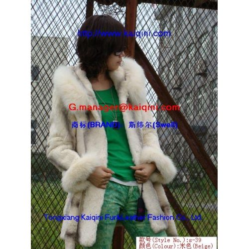 Chongfu Custom fashion biocolor rabbit fur stitching together with fox fur top jacket s-39