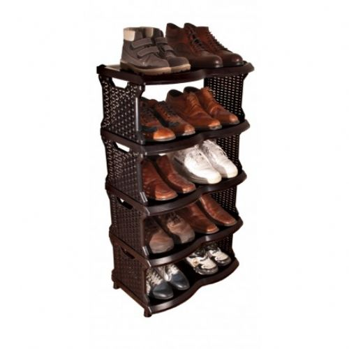 Black Rattan Shoes Shelves