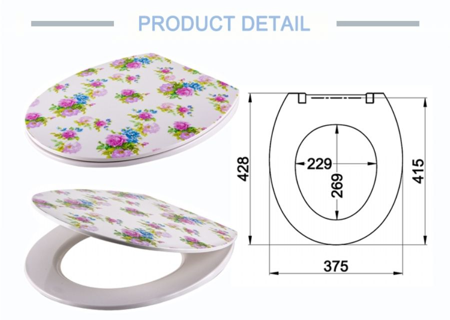Custom_Design_Urea_Flower_Pattern_Print_Thin_Toilet_Seat