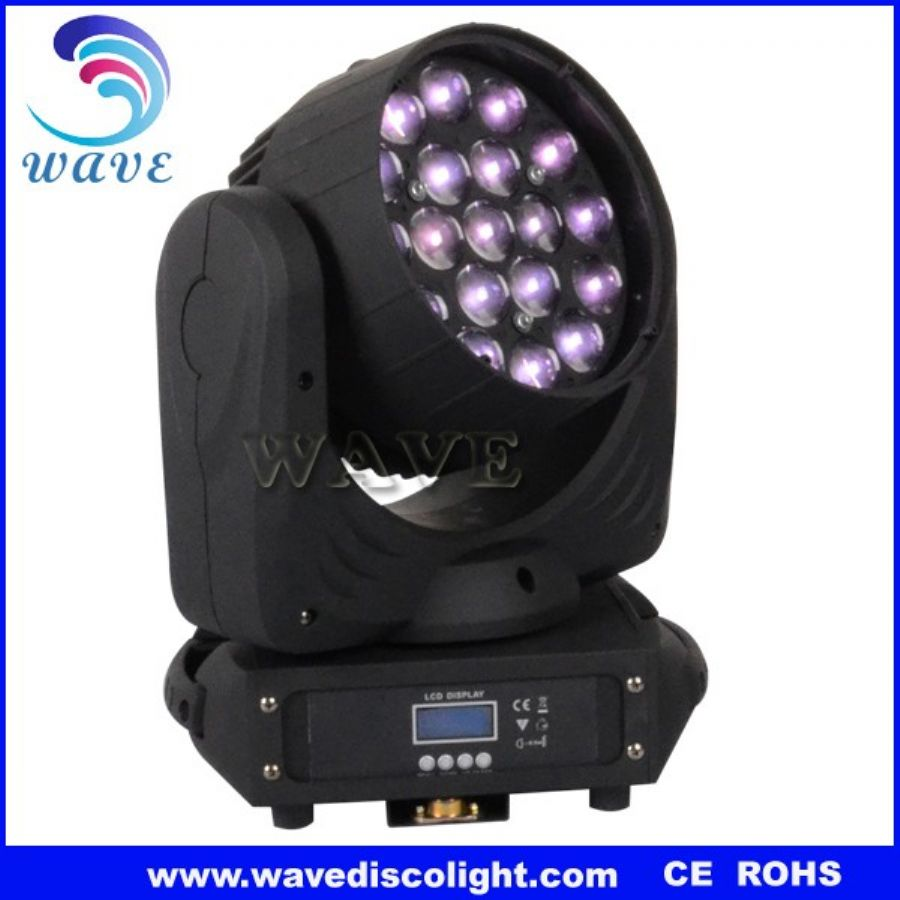19 pcs rgbw 12w leds zoom wash moving stage light