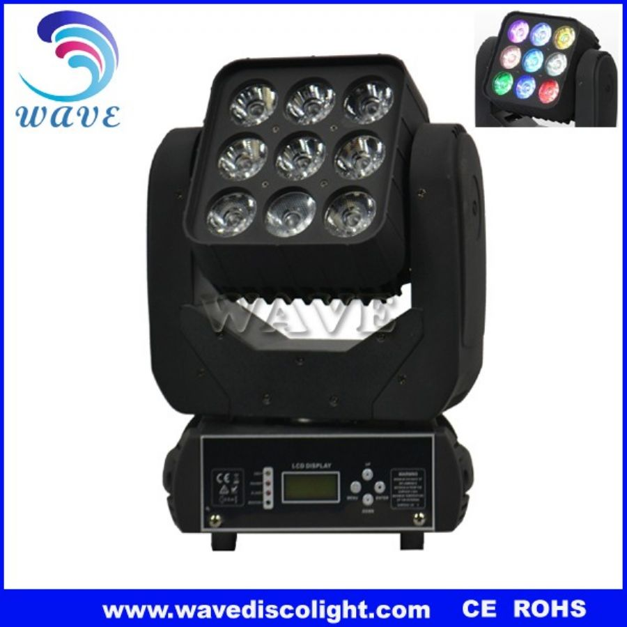 9 pcs rgbw 4 in 1 15w leds beam wash moving head