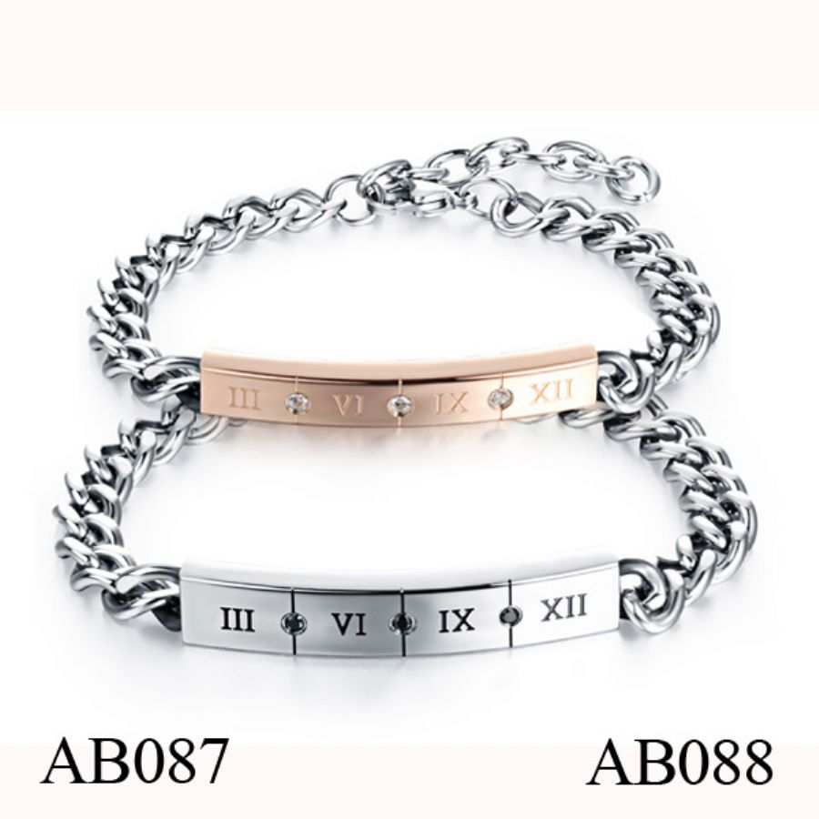 AB088 Luxury Stainless Steel Chain Bracelet For Couples
