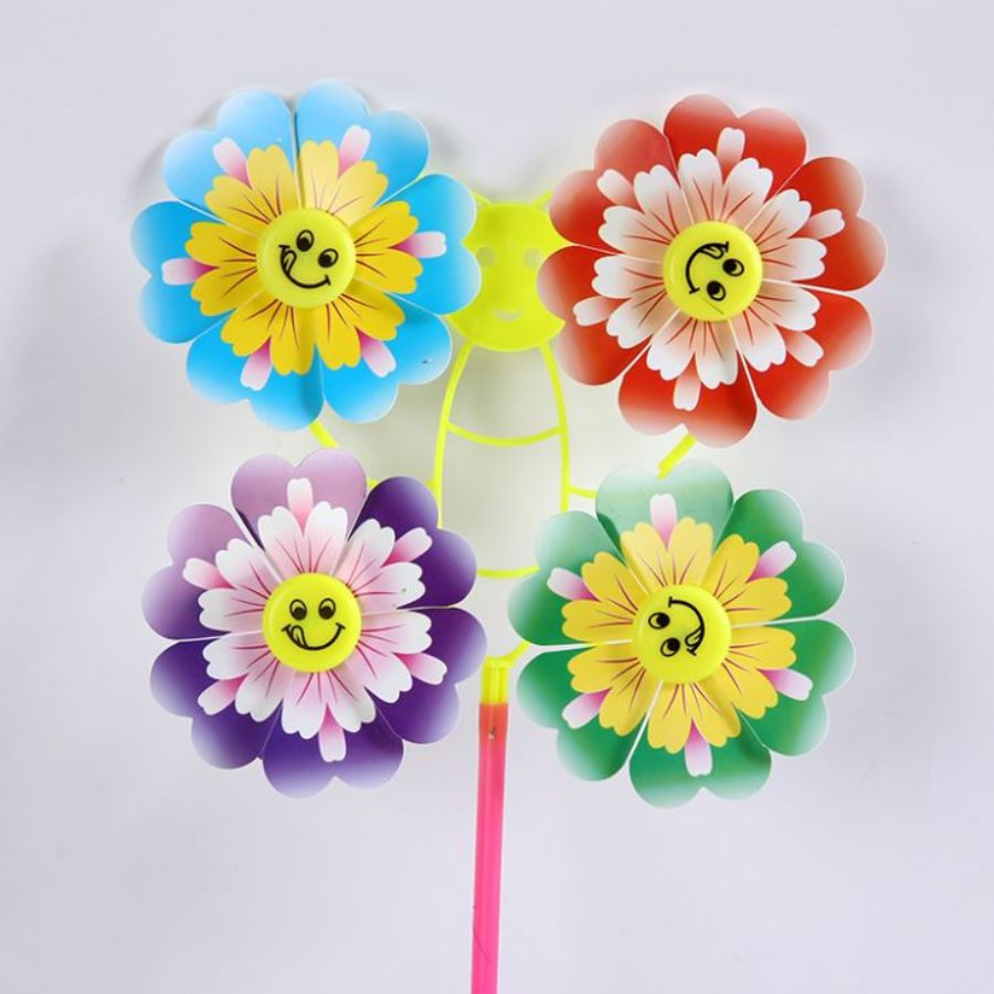 Four Wheels Smiling Face Peony Colorful Outdoor Garden Advertising Windmill Plastic Party Wedding
