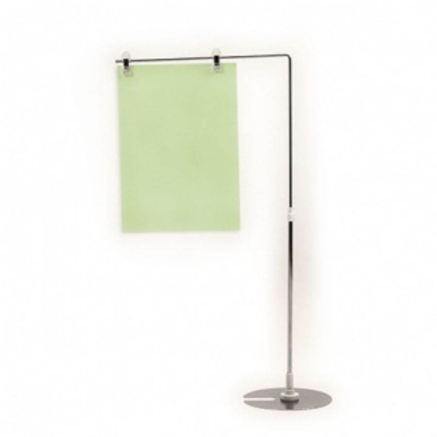 Adjustable Signage Frame Stand In Chrome With Round Base