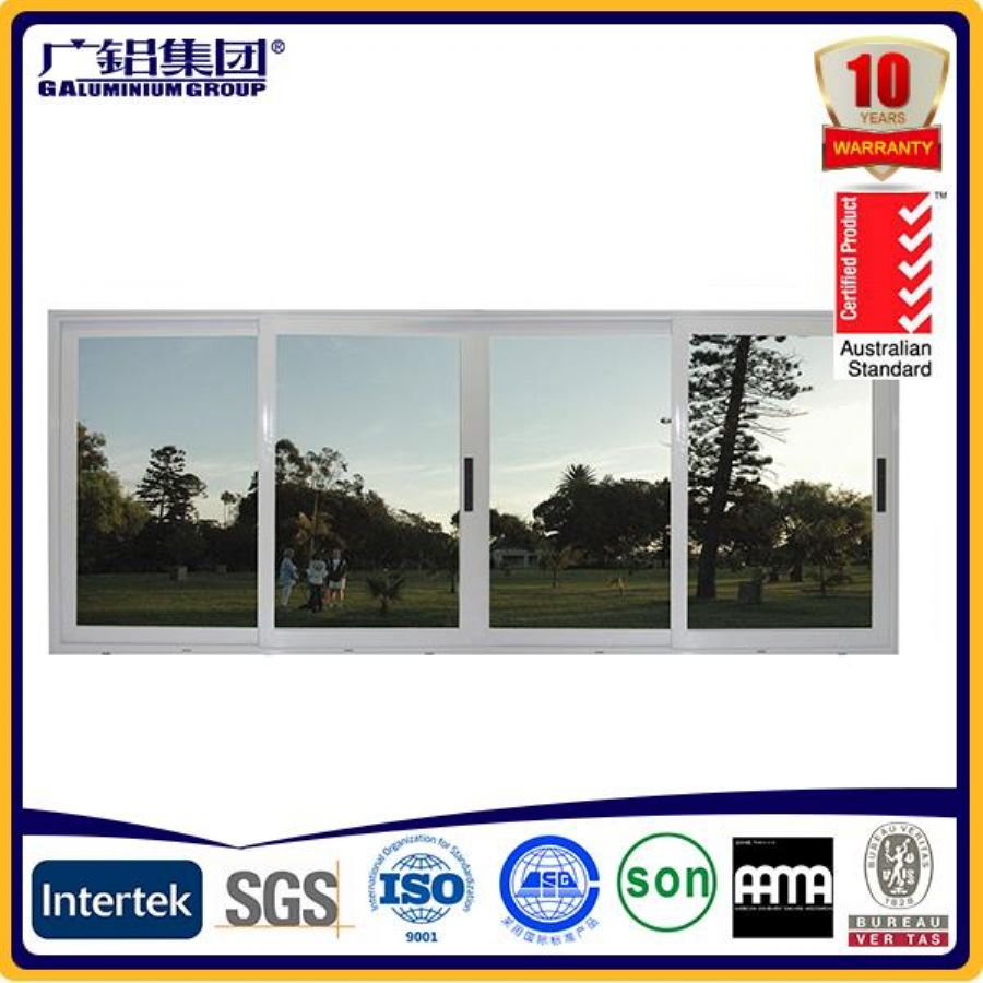 Thermal Break 3 Tracks Aluminium Sliding Window With Double Glass And Fixed Panel For Villa And