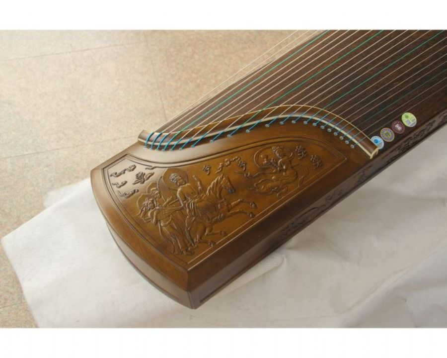 Professional Chinese Nanmu Playing Guzheng Carved Chinese Painting Dunhuang Frescoes For Performance