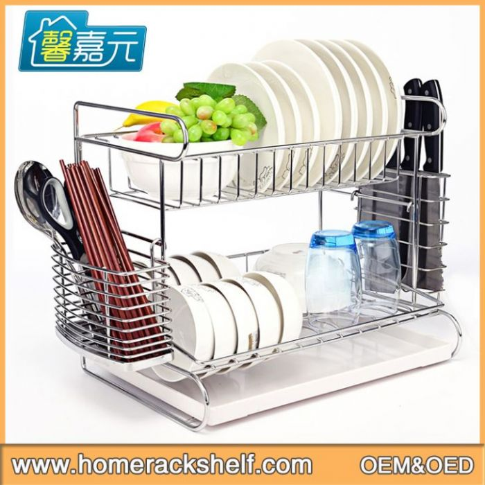 Double Layer Stainless Steel Dish Rack Drain Bowl Dish Rack
