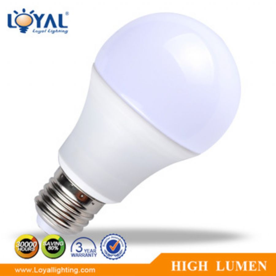 High Lumen IP20 Aluminum Plastic Cover SMD A60 E27 9w Led Bulb Lamp