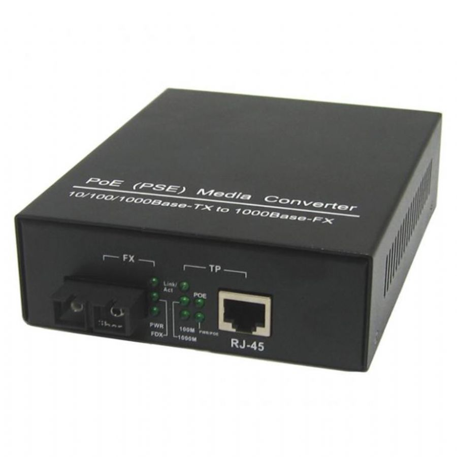 PoE Fiber Media Converter PSE TX 10/100/1000Base To FX 1000Base Ethernet