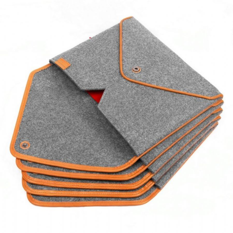 Wool Felt Bag Sleeve Case Cover Protector Genuine Leather Edge With Pocket For Apple Macbook Air 13
