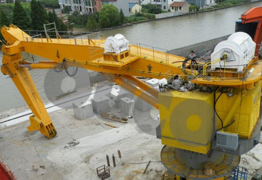 Low Cost Heavy Knuckle Boom Lift In Marine Crane With Extended Jib.