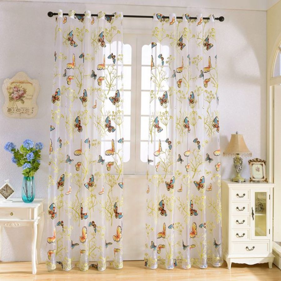 New Butterfly Finished Curtain Tulle Window Curtain For Living Room Bedroom Kitchen Curtains