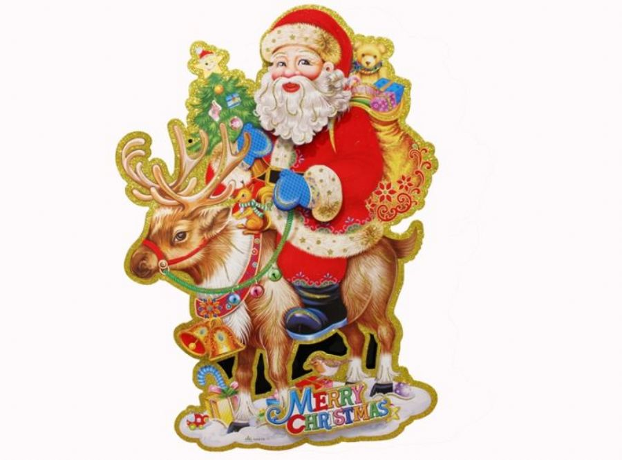 New 3D Glitter Christmas Santa Claus Snowman Angel Snow And Tree Paper Sticker For Window And Wall