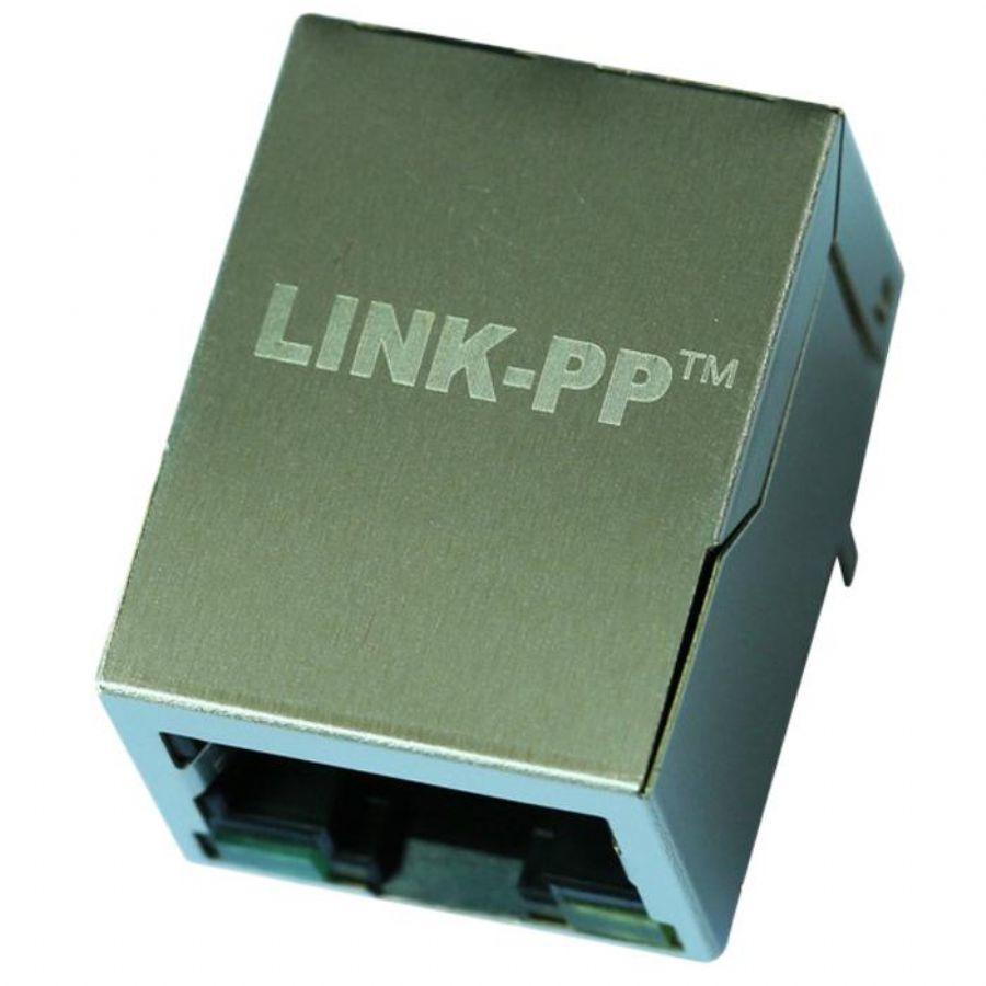JXR0-0015NL Single Port RJ45 Connector with 10/100 Base-T Integrated Magnetics,Green/Yellow LED,Tab