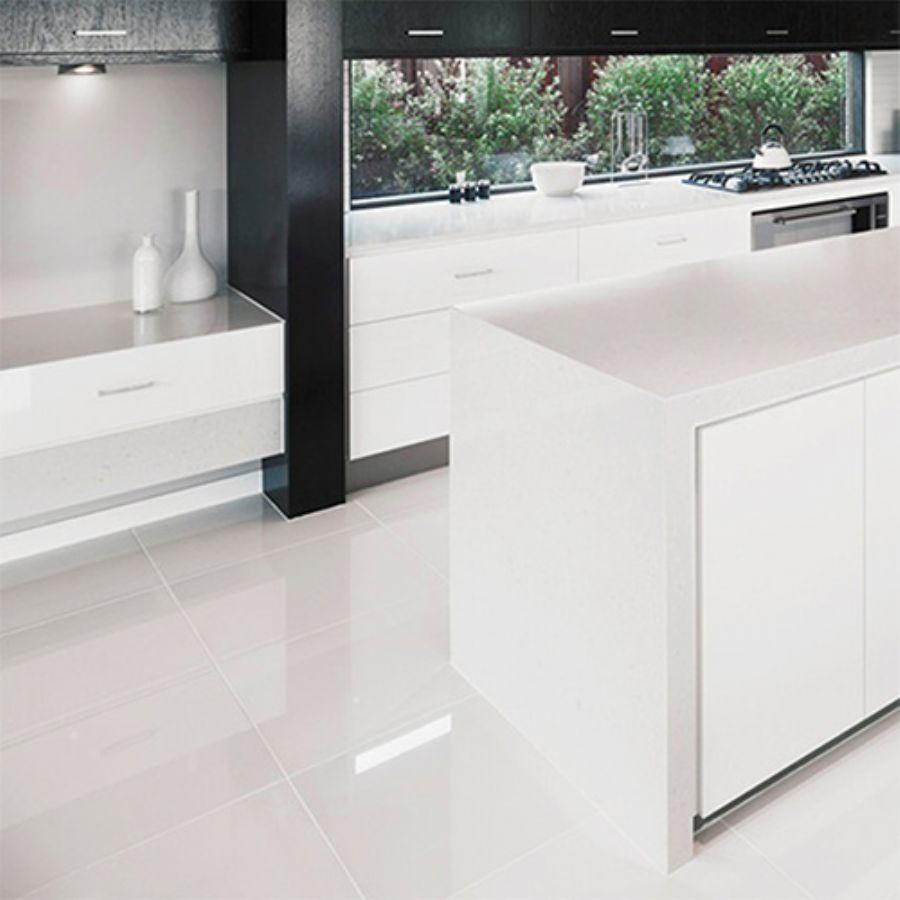 Pure White Gloss Porcelain Floor Tiles