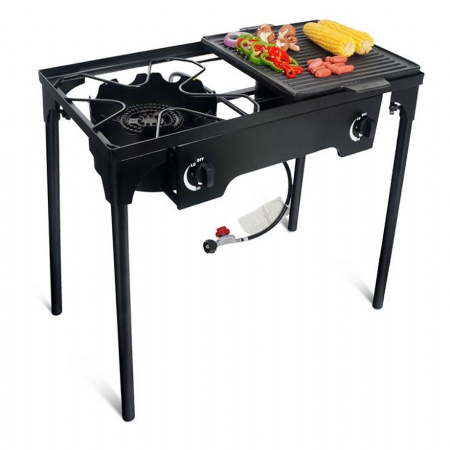 Manual Igniting Out-Door Portable Explore Gas Cooker Double Burner Lpg Stove