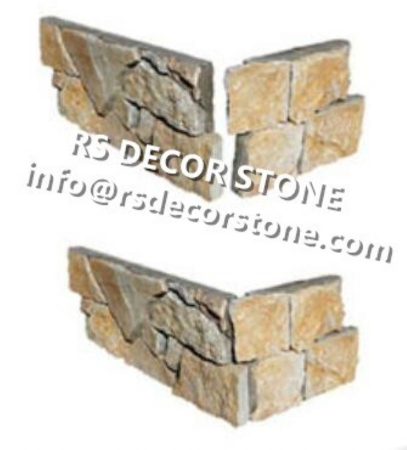 Gold Limestone Cement Stone Panel(cement backing)