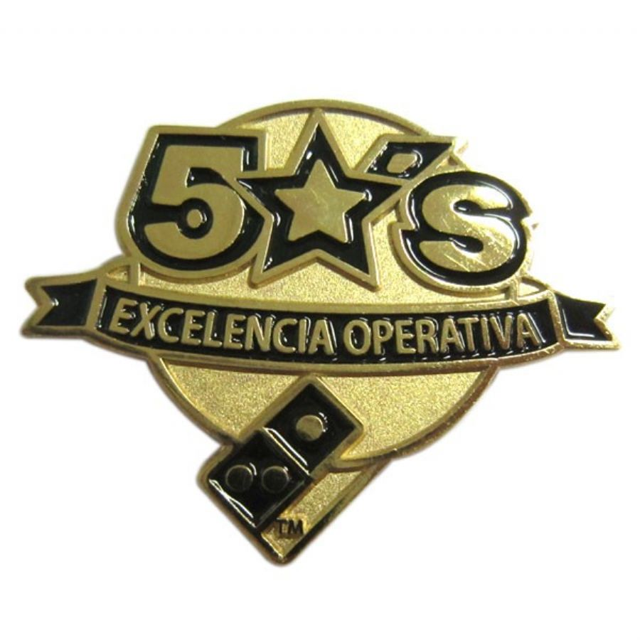 Custom gold medal badge with enamel