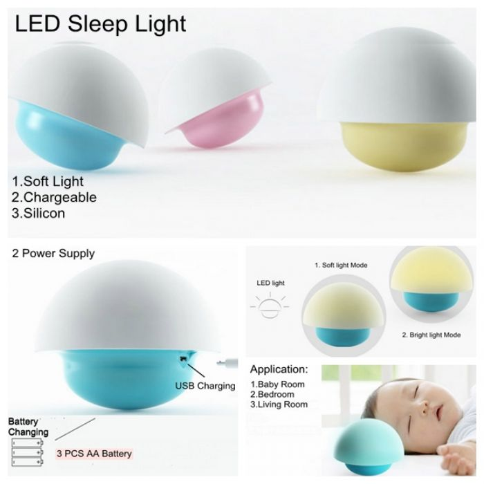 Portable chargeable LED Touch light silicon baby room night sleep bedside table lamp LX125