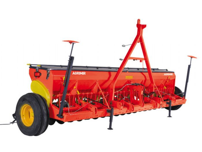 Grain seed drill double disc
