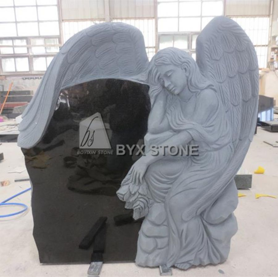 Angels Carved Headstone Absolute Black Granite Cemetery Memorials Stones