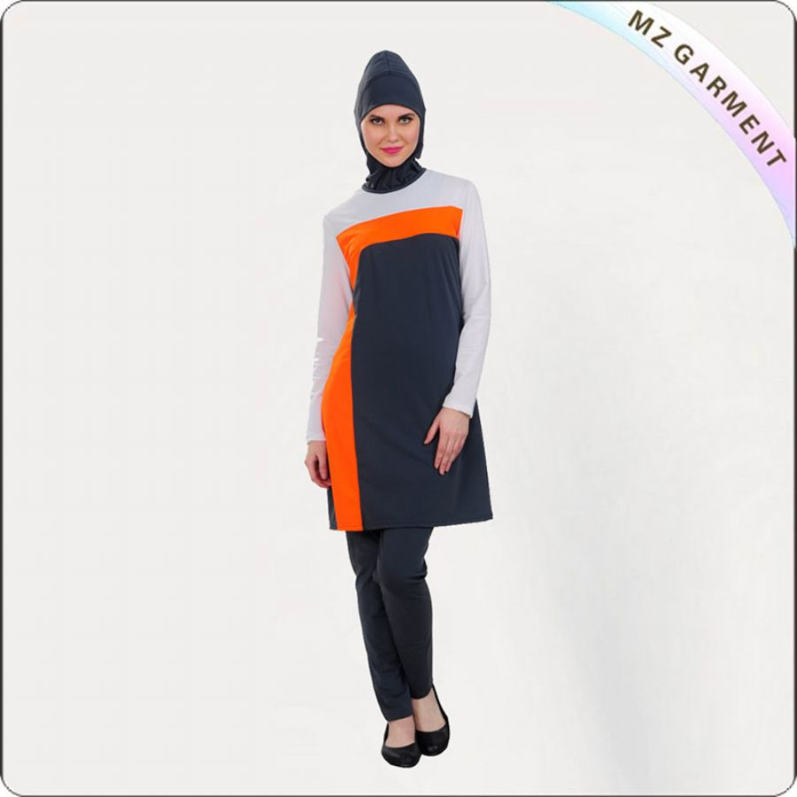 Female Orange Muslim Swimwear