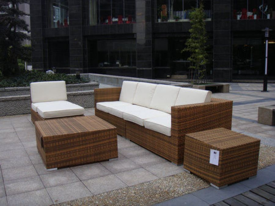 Outdoor Indoor PE Rattan Sofa With Side Sofa , Middle Sofa , Ottoman , Coffee Table