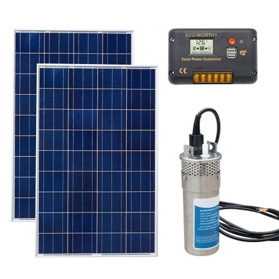 ECO-WORTHY 24V Solar Panel Deep Water Well Pump S/Steel Submersible Pump 20A