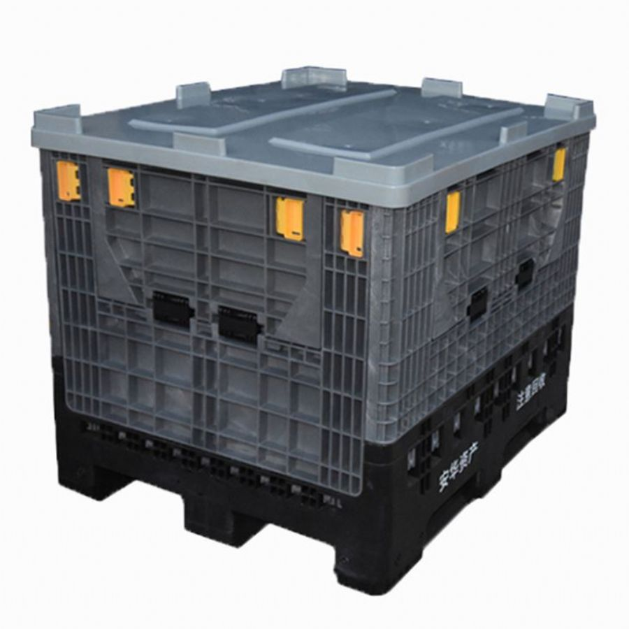 Heavy duty bulk industry collapsible plastic pallet storage box