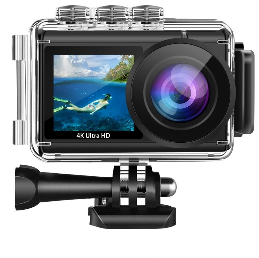 Real 4K Remote Control Dual Screen Action Cam AT-Q70E