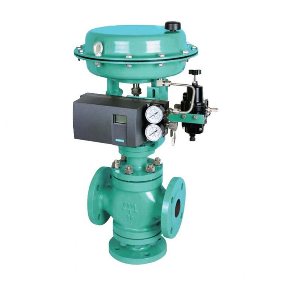 Pneumatic Cage Guided Three Way Globe Control Valve