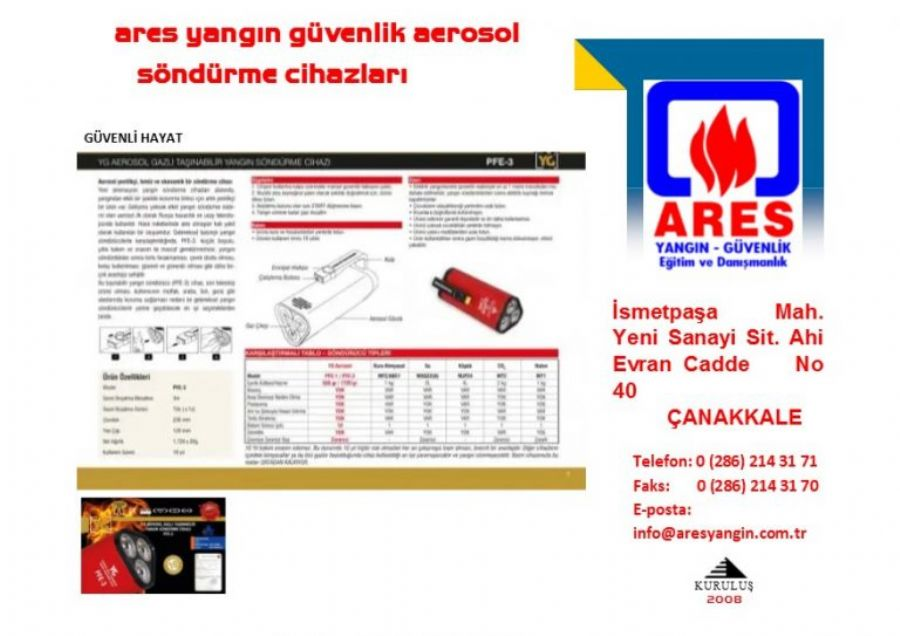 TA�INAB�L�R AEROSOL GAZLI YANGIN S�ND�RME C�HAZI