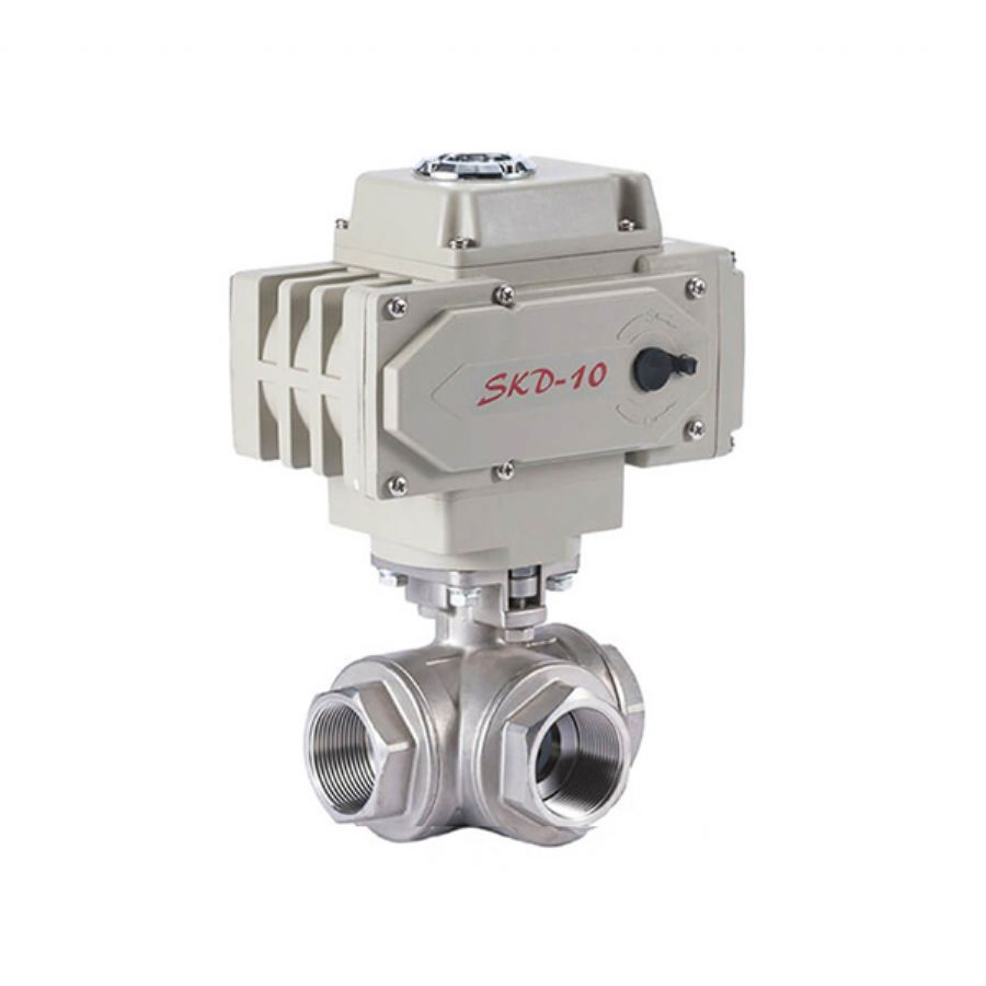 3 Way Electric Ball Valve Female Threaded, FNPT Ends