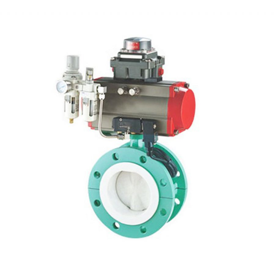 Pneumatic Butterfly Control Valve, Lined PO, PE, PP, FEP, PTFE, PFA